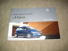 Mercedes B-Klasse T245 Preisliste price list vom 04.04.2008, 36 Seiten