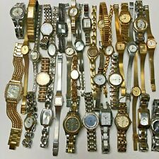 Watch Lot~35 Name Brand Lady Watches~Seiko~Fossil~GUESS~Elgin~Citizen~All Metal