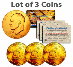 Bicentennial 1976 Eisenhower IKE Dollar Coin 24K GOLD PLATED w/Capsules (QTY 3)