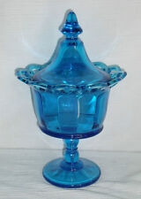 "Blue Glass Candy Dish Bowl 9.5"" Lidded Pedestal Open Lace Rim Edge FREE US Ship"