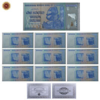 WR 10X Zimbabwe 100 Trillion Dollar Notes SILVER Banknote Set Certificate