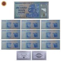 WR 10X Zimbabwe 100 Trillion Dollars SILVER Foil  Banknote Set Color + COA