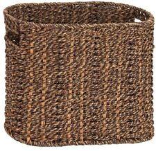 Brown Woven Magazine Rack Wicker Bin Braided Basket Holder Natural Seagrass Box