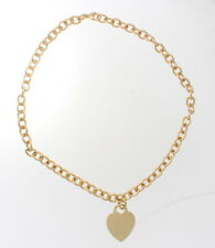 Auth. Tiffany & Co.18k Yellow Gold Heart Charm Chain Link Necklace 52.14 Grams