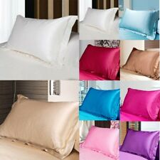 NEW Solid Queen/Standard Silk Satin Pillow Case Bedding Pillowcase Smooth Home N
