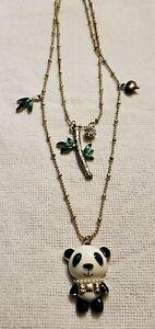 Betsey Johnson Gold Tone Bow Tie Panda 2 Strand Necklace