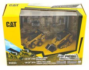 1:64 DIECAST MASTERS CATERPILLAR CAT 272D2 & 297D2 SKIDSTEER Set w/Attachments