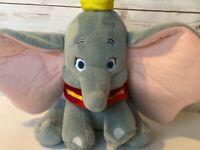 "Walt Disney Store Dumbo Plush Stuffed Elephant 12"" w/ Yellow Hat & Circus Collar"
