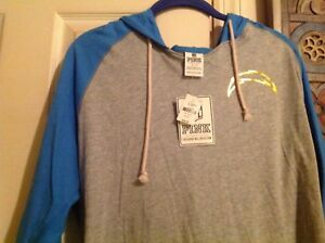Victoria's Secret Pink NWT Small NFL San Diego Chargers blue gold foil hoodie