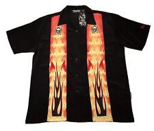 Dragonfly Skull Cross Bones Flames VLV Rockabilly Hawaiian Shirt Mens Medium