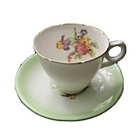 ROYAL STAFFORD TEA CUP & SAUCER SET.  MINT GREEN WITH FLORAL PATTERN