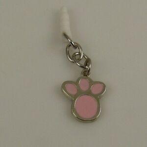 pink paw print dog theme cell phone charm ear cap dust plug  fits ipad too