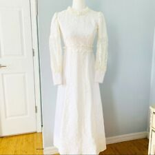 Vintage Long Sleeve Victorian Style 60's/70's Vibe Ivory Wedding Gown Size XS/ S