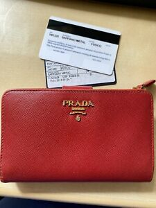 Used Authentic Prada Saffiano Wallet Red RRP £500+