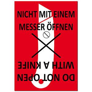 Aufkleber Sticker Etiketten Label NICHT MIT MESSER ÖFFNEN Versand Umzug Paket