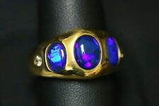 Tremonti Exquisite Black Opal & .16 ct tw Diamonds 14k Yellow Gold Ring
