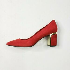 New DKNY Womens Red Pump Gold Accents Block Heel Suede Feel Size 9