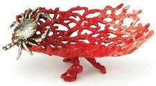 Red Enameled Pewter Coral Style Crab Dish
