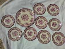 9 assiettes à dessert Villeroy et boch avec plat à gateau fasan