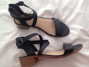 NEW LOOK Black Ankle strap low block heel Sandals UK 6 EU 39