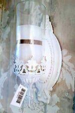 Nostalgische Wandlaterne Windlich Weiß Metall Patina Shabby Vintage Landhaus