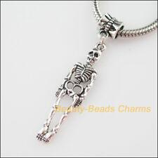 3Pcs Tibetan Silver Tone Halloween Skull Charms Bail Beads Fit Bracelets 9x49mm