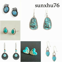 Women 925 Silver Turquoise Gemstone Ear Stud Hoop Dangle Earrings Wedding Gift