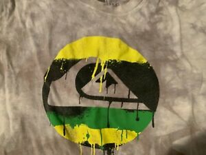 Boys size L large graphic Quicksilver T-shirt Tie Dyed Logo Front