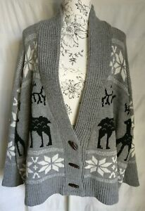 WOMENS GREY LOOSE FIT OVERSIZE REINDEER SNOWFLAKES CHRISTMAS CARDIGAN 1 SIZE NEW