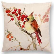 Cubierta Cojín de aves Rustica Vintage Shabby Chic Lino dispersión Almohadón Sofá regalo