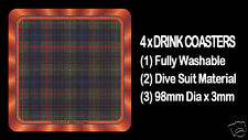 4  x  SCOTTISH TARTAN - CLAN - STEWART HUNTING - DRINK COASTERS - Re-usable