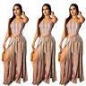 Womens Sexy Strapless Tube Tops Striped High Slit Long Pants Casual Jumpsuit 2pc