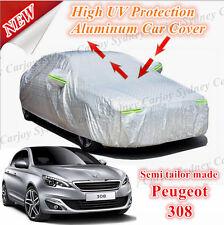 Premium UV Protection Rain Waterproof Zip Aluminum Car Cover Medium Peugeot 308