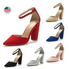 Womens High Chunky Heel Pump Shoes Ankle Strap Pointed Toe Dress Pump Shoes
