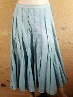 ONE STEP Taille 44 Superbe jupe longue doublée bleu clair plissée skirt