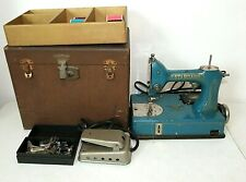 Vintage Standard Sewhandy Blue Sewing Machine with Case, Pedal, Attachments, Ge