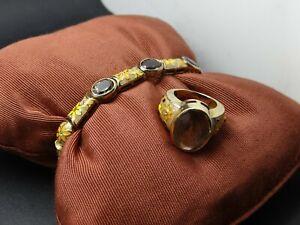 Buntes Set vergoldet Silber .925 Emaille graue Glassteine Armband 19,5cm Ring 53
