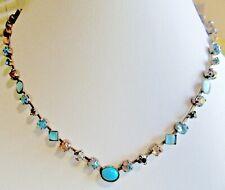 "SORRELLI BLUES ORANGE CRYSTALS CATS EYE CABACHON BRASSY 16"" CHOKER NECKLACE"