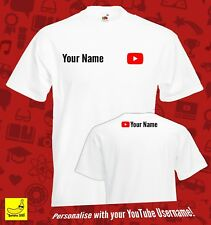 Youtube Personalised Player T-Shirt Youtuber Gift Adults Kids Viral Gaming Tee