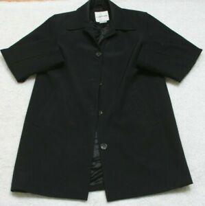 Andrew Mark Jacket Coat Black Women Button Front Medium Womans Polyester Acetate