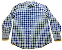 Bugatchi Uomo Mens Blue Plaid Long Sleeve Button Front Shirt Size Large