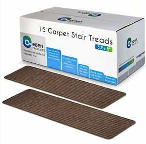 """EdenProducts Non-Slip Carpet Stair Treads 15 Count 8""""x30"""" in Brown Mocha NEW"""