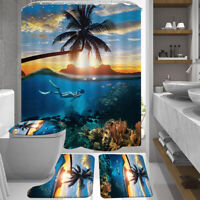 Bathroom Shower Curtain+Non-slip Bath Mat Pedestal Toilet Seat Cover Lid Rug Set