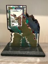 BEAUX ARTES ARTS Modern Deco Glass Shelf Clock - Signed Beaux '92