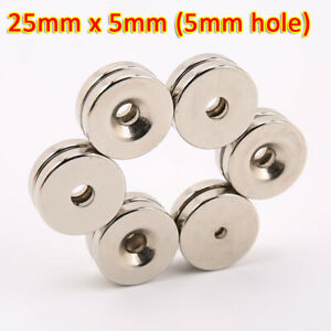 25x5mm with Hole Strong Magnets Neodymium N35 Cylinder Round Disc Fridge Magnet