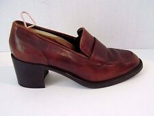 Vintage Joan & David Handmade Brown Leather Chunky Heel Shoes Size 39 1/2 Italy