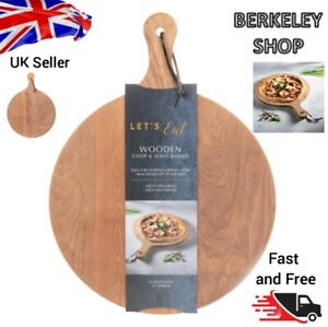 Wooden Chopping Pizza Serving Board Platter Tray Round Circular W/Handle 33cm