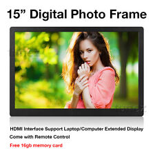 "15"" LED HD 1080P Digital Photo Frame as Extended PC Monitor 16GB SD card Remote"