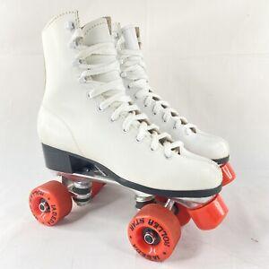 Lebeda Vintage Roller Star Derby Skates Wheels White Leather Size 7 Rare Clean