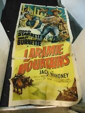 Charles Starrett Laramie Mountains Original 3-Sheet Movie Poster #N1332